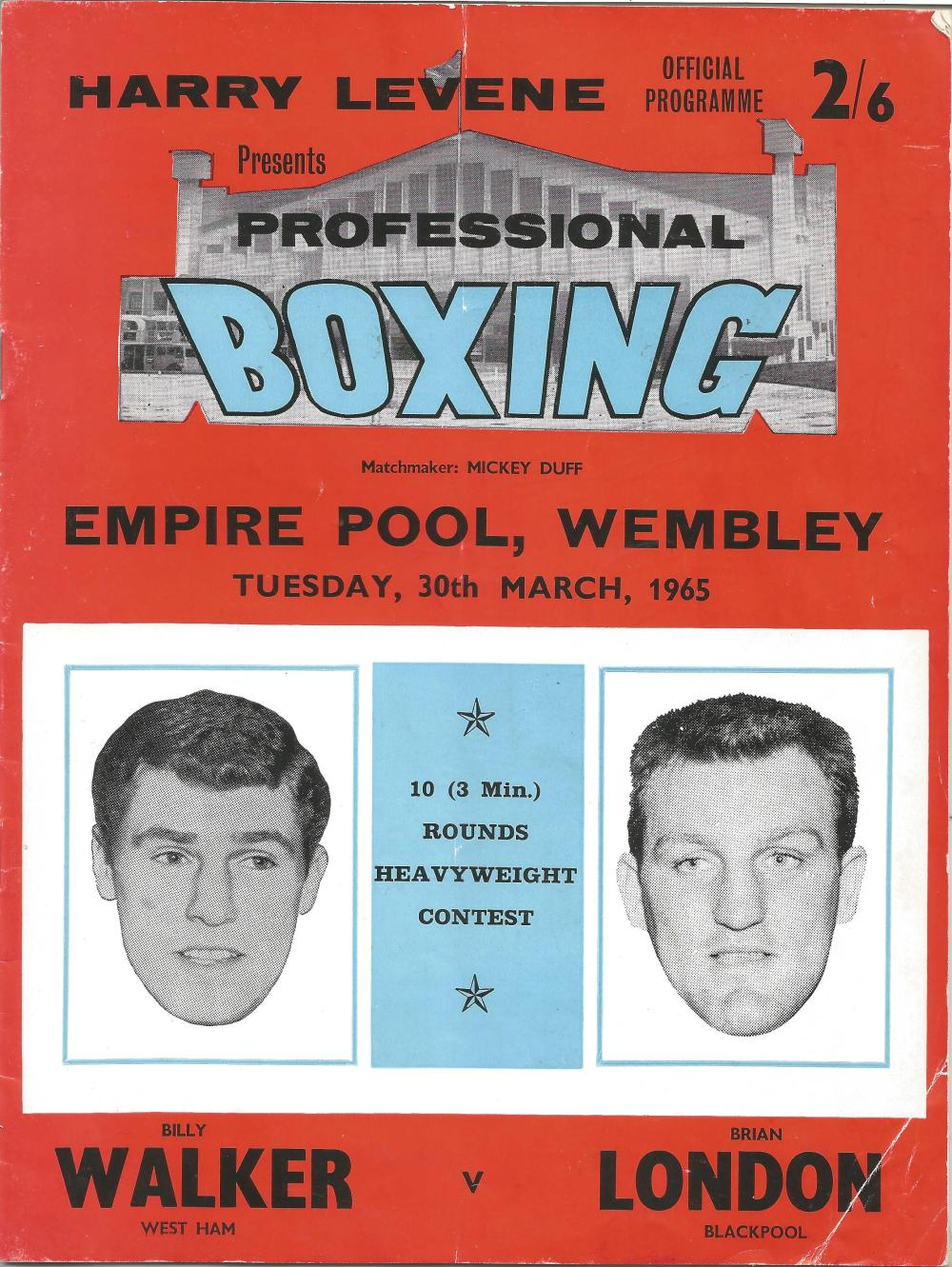 Boxing Billy Walker v Brian London vintage fight programme Heavyweight contest Empire pool Wembley