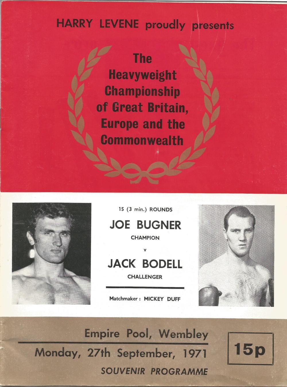 Boxing Joe Bugner v Jack Bodell vintage fight programme Heavyweight Championship of Great Britain,