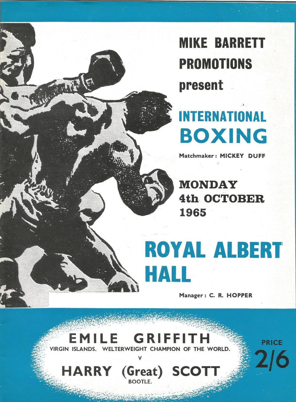 Boxing Emile Griffith v Harry Scott vintage fight programme Middleweight contest Royal Albert Hall