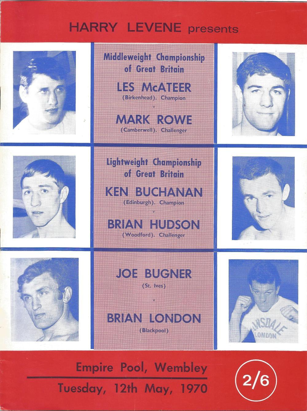 Boxing Joe Bugner v Brian London vintage fight programme Heavyweight contest Empire Hall Wembley