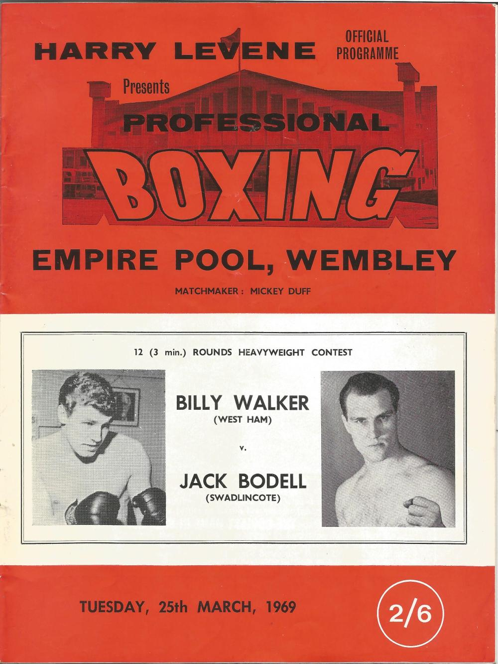 Boxing Billy Walker v Jack Bodell vintage fight programme Heavyweight contest Empire Pool Wembley