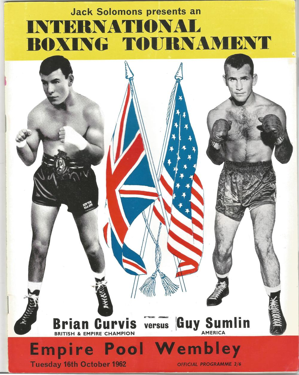 Boxing Brian Curvis v Guy Sumlin vintage fight programme Empire Pool Wembley 16th October 1962. Good