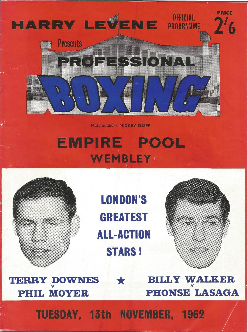 Boxing Terry Downes v Phil Moyer vintage fight programme Empire Pool Wembley 13th November 1962.