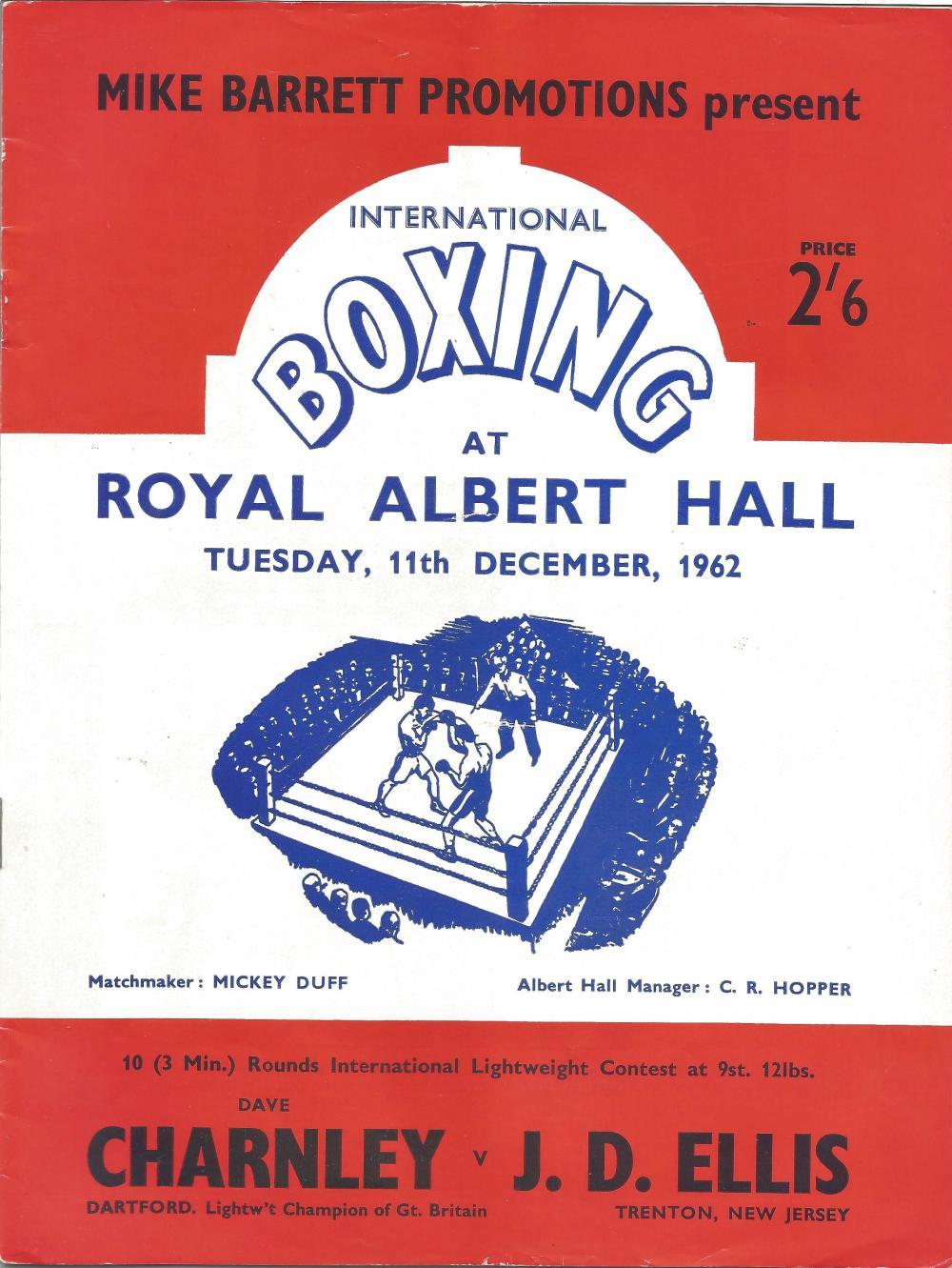Boxing Dave Charnley v J. D Ellis vintage fight programme Royal Albert Hall 11th December 1962. Good