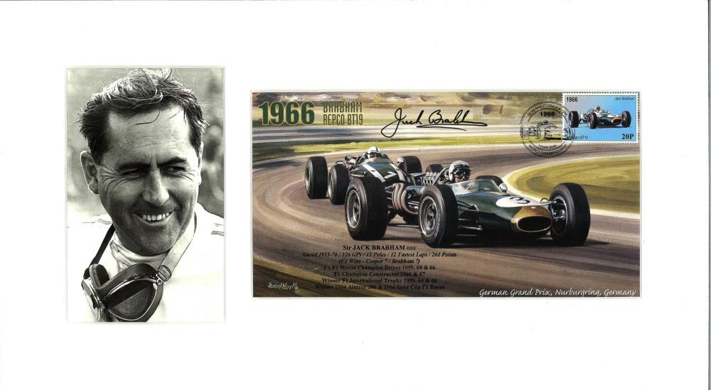 Jack Brabham signed 50yrs Formula One FDC mounted alongside b/w photo. Approx over size 16x8. Good
