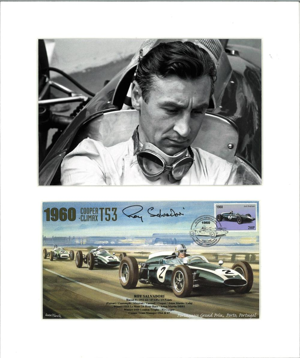 Roy Salvadori signed 50 yrs Formula One FDC mounted below b/w photo. Approx overall size 14x12. Good
