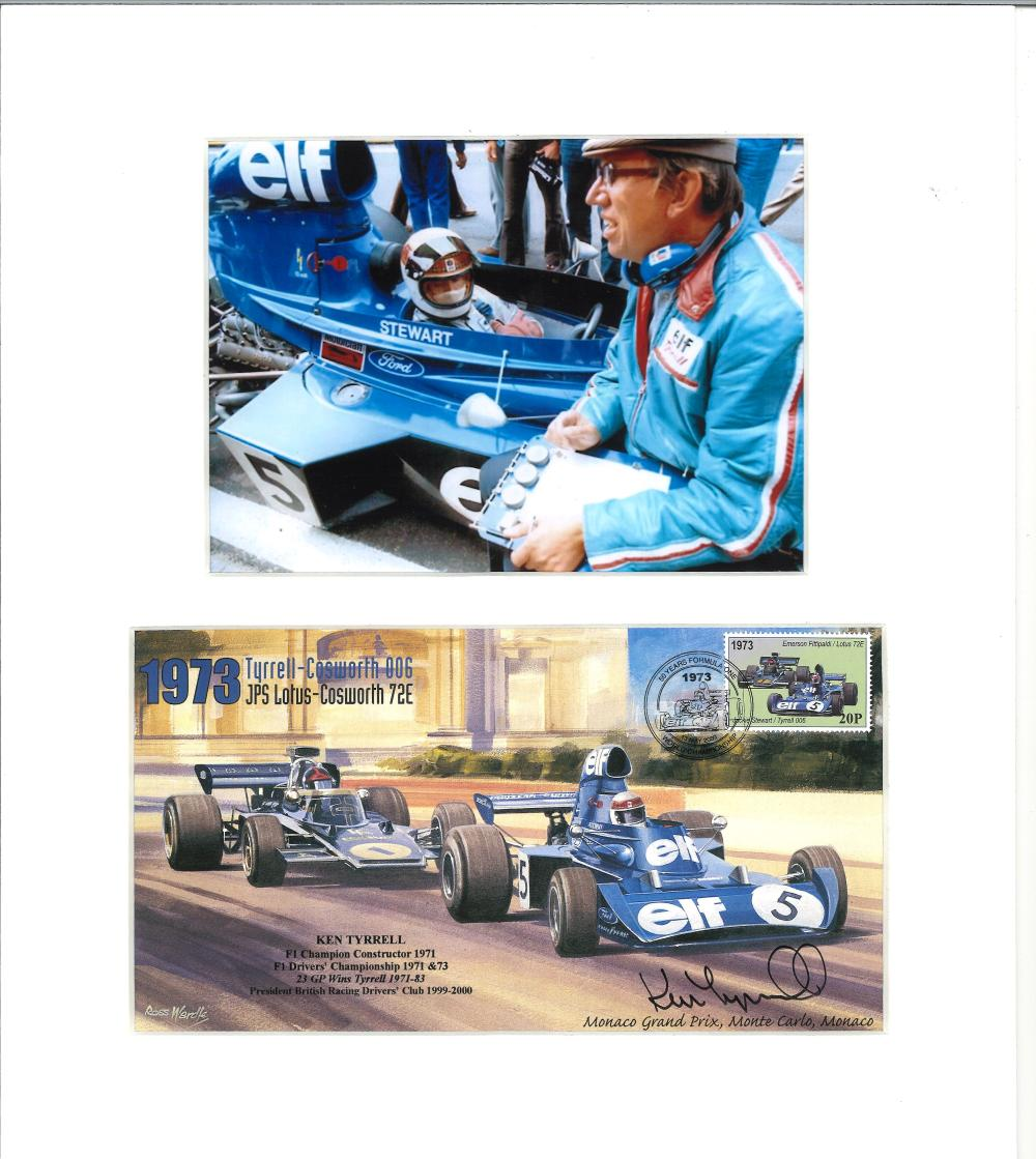 Ken Tyrrell signed 50 yrs Formula One FDC mounted below colour photo. Approx overall size 13x12.