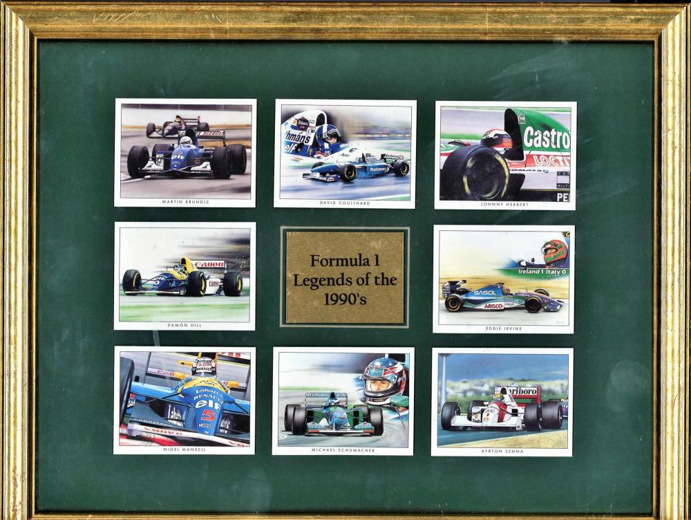 Motor Racing Formula One Legends of the 1990s 12x15 mounted card collection images include Ayrton
