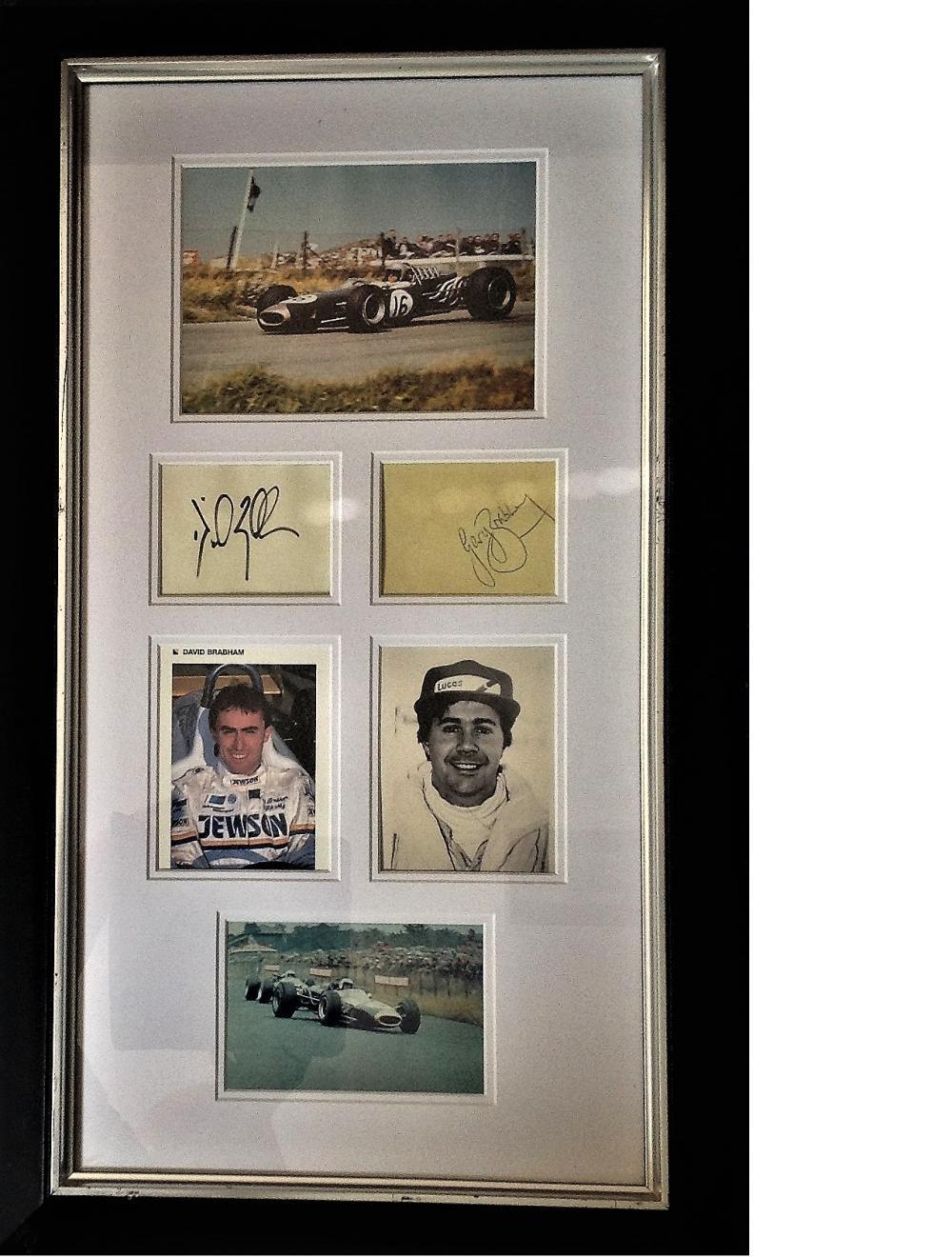 Motor Racing 29X16 Brabham Family signature piece includes photos of Sir Jack Brabham, Gary