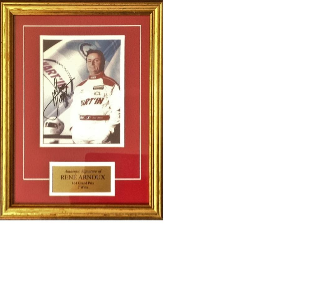 Motor Racing Rene Arnoux signed 13x10 colour photo and authentic name and bio plate mounted and