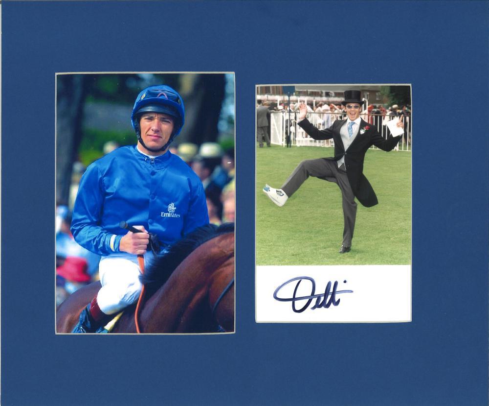 Horse Racing Frankie Dettori 10x12 signature piece includes signed colour photo and colour photo