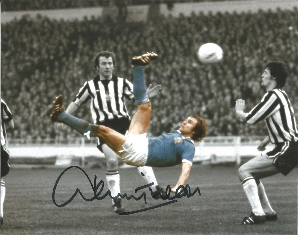 Football Dennis Tueart 8x10 colour enhanced photo pictured in action for Manchester City. Good