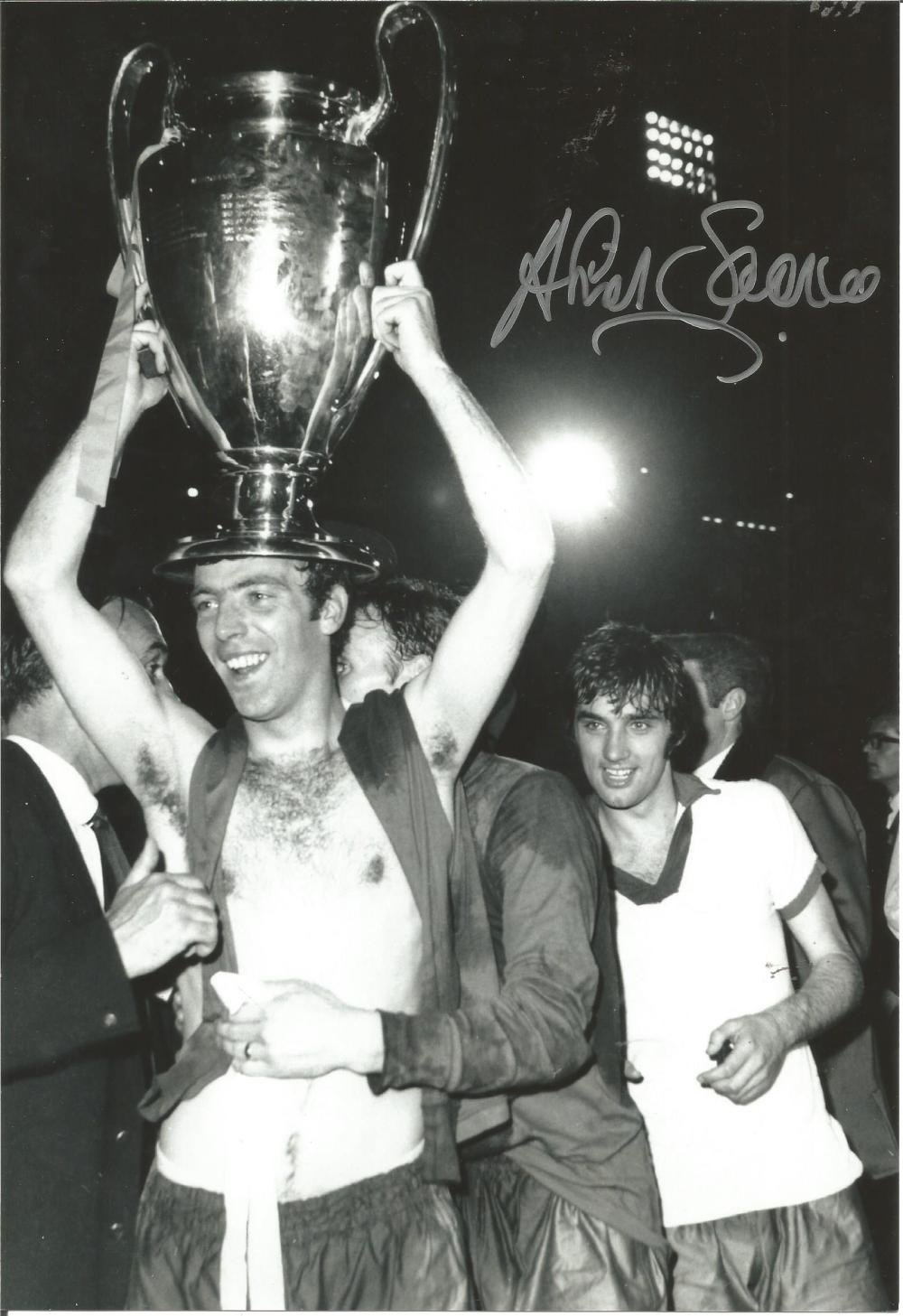 Football David Sadler 12x8 signed b/w photo pictured celebrating after Manchester Uniteds win in the