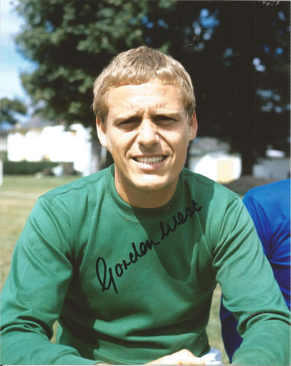 Football Gordon West 10x8 signed colour photo pictured during his time for Everton F. C. Good