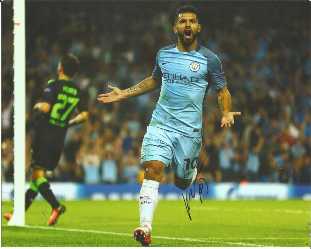 Football Sergio Arguero 8x10 signed colour pictured playing for Manchester City. Good condition Est.