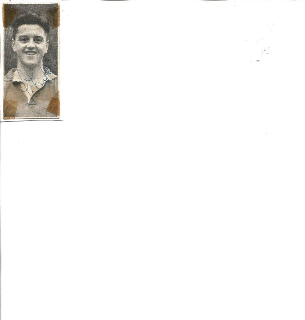 Football Legends Busby Babe Tommy Taylor signed 2x1 b/w photo. Thomas Taylor (29 January 1932 - 6