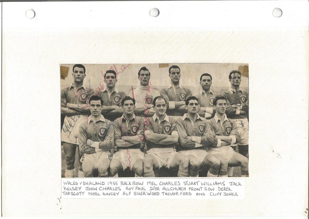 Football Legends Wales v England 1955 vintage team photo signed by Mel Charles, Stuart Williams,