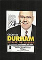 Geoffrey Durham signed tour leaflet mounted to 12 x 8 black card.  -
