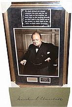 Winston Churchill signed presentation Vintage card framed and mounted