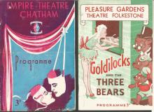 Collection of 13 Theatre programmes and brochures including Pleasure Gardens Theatre Folkestone, Empire Theatre Chatham, Her Majestys Theatre, Theatre Royal and more. Goldilocks, Fiddler on the Roof, Oklahoma, Peter Pan, Annie Get Your Gun, Puss in Boots, Annie, Fabulous Follies