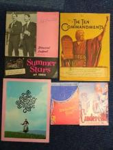 Collection of 5 vintage Theatre programmes and brochures including Chiswick Empire Cinderella, London Hippodrome Starlight Roof, The Sound of Music, The Ten Commandments, Summer Stars of 1964