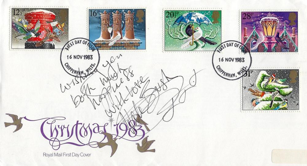 Kate Bush signed Christmas 1983 Royal Mail FDC and 10x8 unsigned black and white photo.