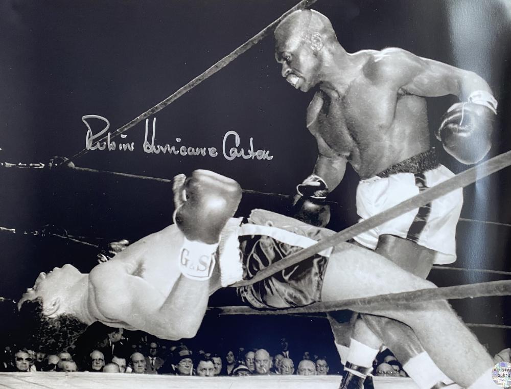 Boxing, Rubin Hurricane Carter signed 12x16 black and white photograph.