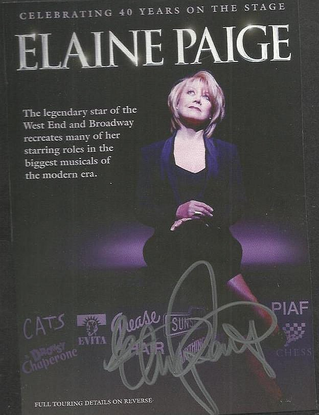 Elaine Paige signed 40th Ann Tour colour leaflet. Mounted to 12 x 8 black card