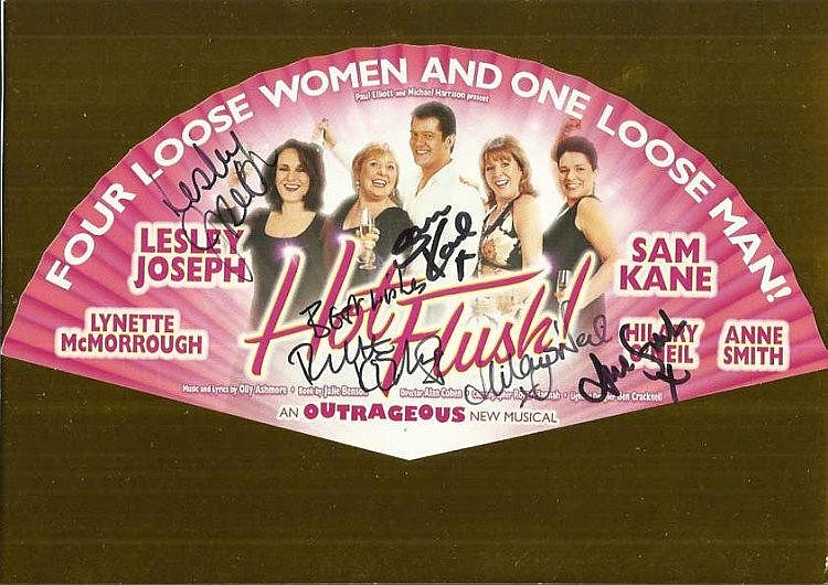 Lesley Joseph, Hilary O'Neil, Ann Smith, Sam Kane signed colour promo leaflet for the play Four Loose Women and One Loose Man. Mounted to 12 x 8 card