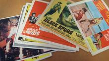 Original Movie Lobby Cards Collection. Nice collection of TWENTY-TWO original 36cm x 28cm 11x14 inches movie lobby cards. Otherwise known as Front of House Cards, these are highly collectable. Consists of Black Spurs 1964, The Barefoot Savage 1954, The Battle of the Mods 1966, Operation Eichmann x 2 1961, The Bounty Killer x 2 1965, The Small World of Sammy Lee 1963, The Nun and the Sergeant 1962, Battle Stripe 1950, The Virgin Soldiers 1969, Tammy and the Millionaire 1967, Massacre Harbour x 3 1968, Blazing The Overland Trail 1956, Rommels Treasure 1961, Tickled Pink 1964, The Young Go Wild 1962, Battle of the Coral Sea 1959, Breakdown x 2 1952 and Blood on the Arrow 1964. Condition of these is generally good one or two have knocked corners because of their age, but they are vintage and look super cool. A nice collection. Good condition.