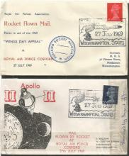 RAF Cosford Rocket Mail Collection. Two little covers from 1969, flown by Rocket at RAF Cosford on the 27th July 1969. One of them was damaged by impact! Fair condition. Good condition.
