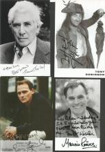 Male TV/film signed collection. 50+ small 6 x 4 photos. All dedicated, includes Perry Fenwick, Frank Finlay, Tony Robinson, Maurice Reeves, Ian Lavender, Geoffey Hughes, Bill Maynard, Gareth Edwards, Jono Coleman, Qasim Akhtar, Bernard Cribbins, Paul Samson, Jerry Stiller, Stephen Fry, Robert Bathurst , Martin Sheen, William Russell, Tony Blackburn, Richard Adams, Chick Young, Ken Dodd, Jimmy Cricket, Ray Alan, Guy Henry, Trevor McDonald, Paul Usher, Michael Aspel, Dave Brubeck, Kenk Morley, Gary Kemp, Simon MacCorkindale, Bill Tarmey, William Roach, Chris Tarrant, John Stapleton, Christopher Timothy, Noel Edmonds, Alan Green, Bruce Jones, Bill Owen, Roy Barraclough, Ben Shephard, Pat Sharp and others. Good condition.