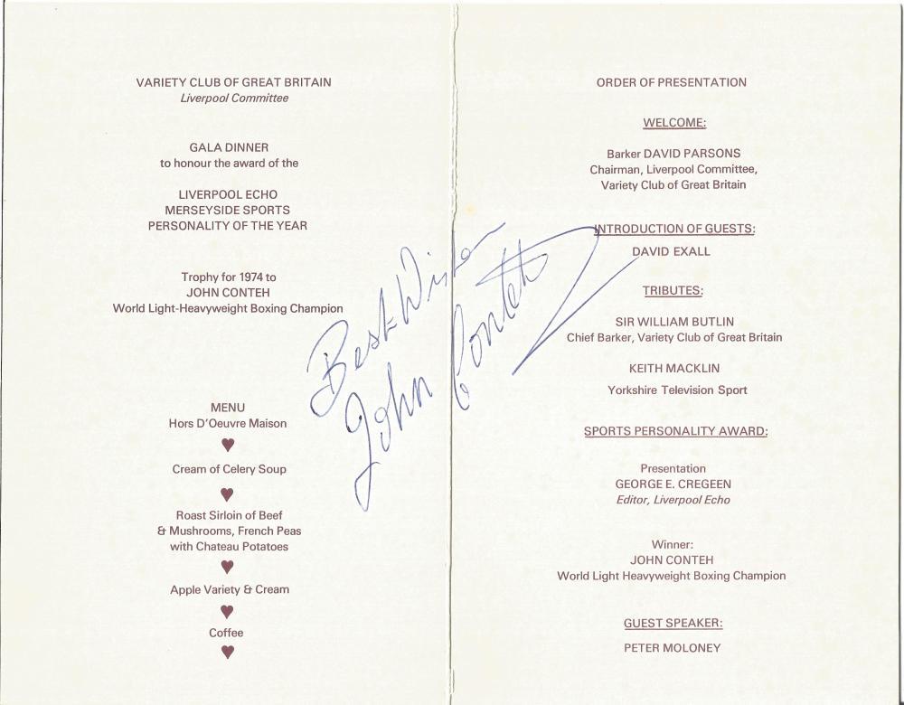 Boxing John Conteh signed Variety Club Dinner Menu  John Ant