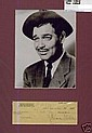 Clark Gable Signed 1946 Cheque. Matted Photo and