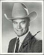 Larry Hagman as JR Ewing signed 10 x 8 black and