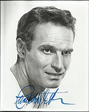 Charlton Heston signed 10 x 8 black and white