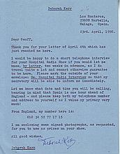 Deborah Kerr rare typed signed letter agreeing to