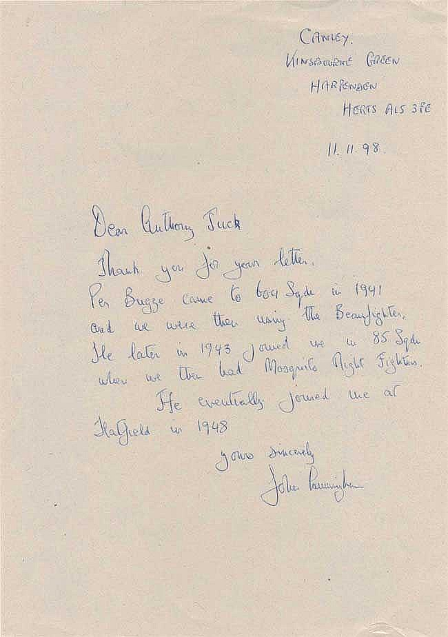 John Cunningham hand written letter with nice war