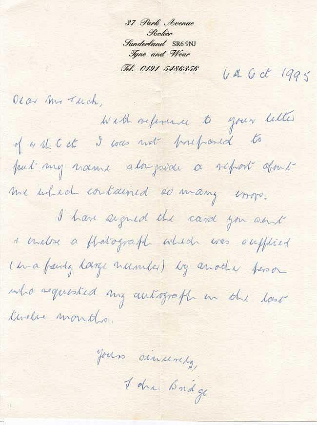 John Bridge GC hand written letter -
