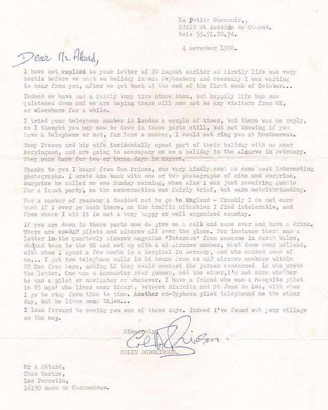 Letter from 'The other Douglas Bader' Flt Lt Colin