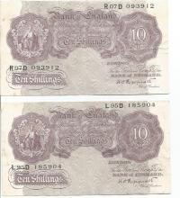 Two Ten Shilling UK Purple 1940s bank notes Peppiatt Cashier numbers R07D 093912, L95D 185904.