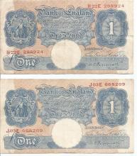Two One Pound Blue UK 1940s bank notes Peppiatt cashier. J03E 668209, H22E 298924. Used good