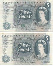 Two Five Pound Blue 1960/70s UK Bank Notes J S Fforde cashier. 15C 193000 slight crease to RH end,