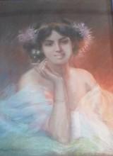 ENJOLRAS Delphin : Femme à la cigarette Pastel sur toile SBG 74x54 cm
