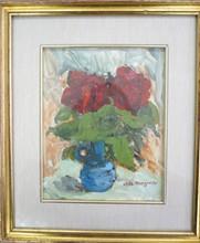 """MAGONZI Margherita (1905-?) """" Roses """" Huile sur Panneau S.D.B 20x25 cm"""