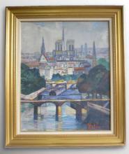"""RIJ ROUSSEAU Jeanne 1870-1956 Paris : """" La Seine et Notre Dame """" Hui"""