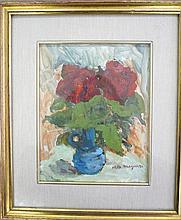 MAGONZI Margherita (1905-?) Roses Huile sur