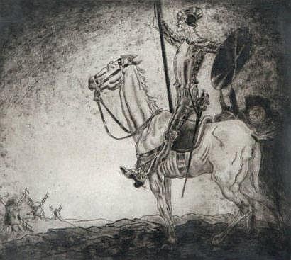 André COLLOT (1897-1976) Don Quichotte Mezzotinte,