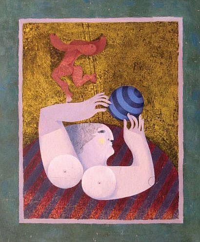 Sami Briss Le funambule huile sur panneau signée
