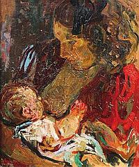 Charles TCHERNIAWSKY (1900-1976) Maternité Huile